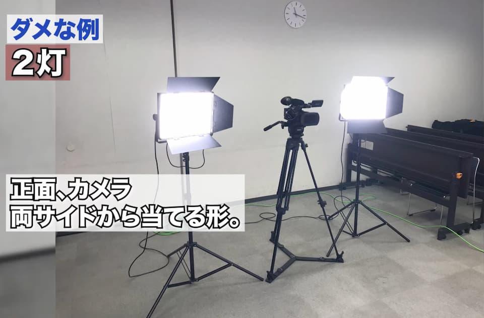 2灯をカメラの両サイドから当てる照明の配置