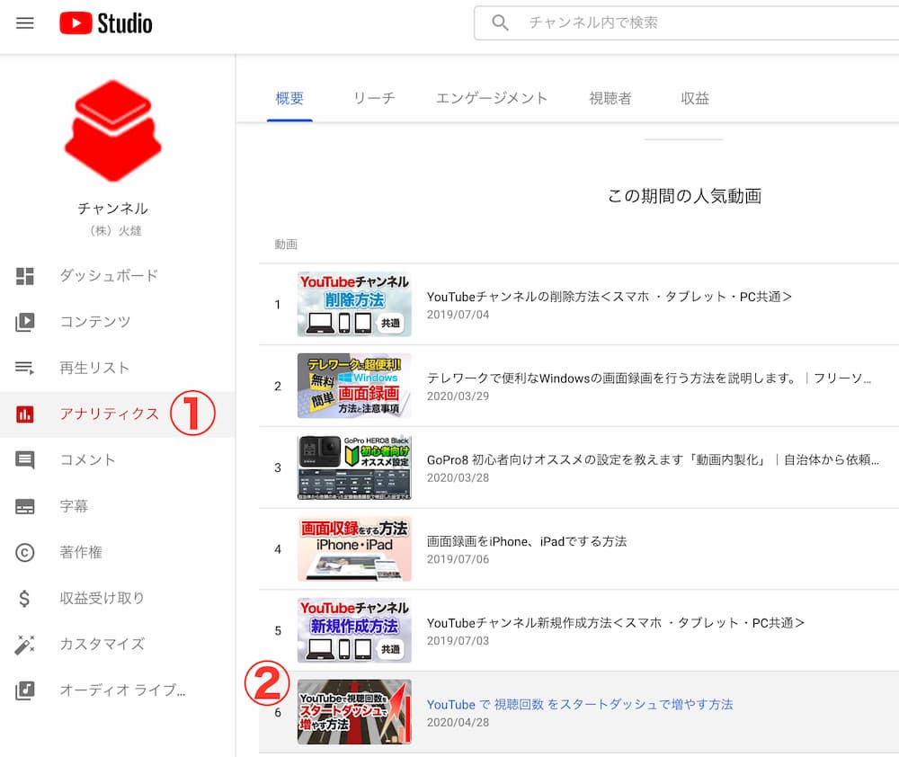 アナリティクス→動画を選択