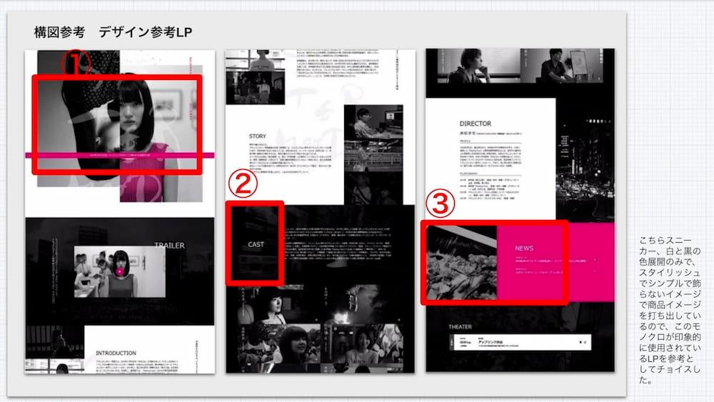 サンプル動画2で「構図」と「デザイン」を参考にしたランディングページ