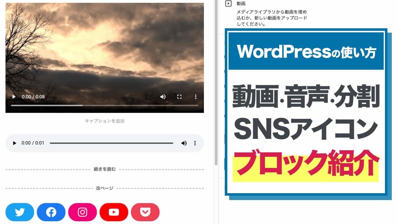 【WordPressの使い方】動画・音声・分割・SNSアイコン・ブロック紹介