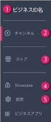 1.ビジネスID 2.チャンネル 3.ストア 4.Showcase 5.設定