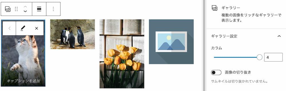 サイズや比率の違う画像を並べたギャラリー