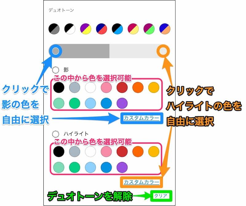 デュオトーンの配色選択方法