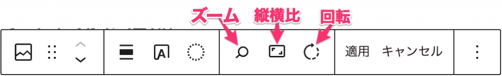 虫眼鏡アイコン=ズーム 長方形アイコン=縦横比 左回りの丸い矢印=回転