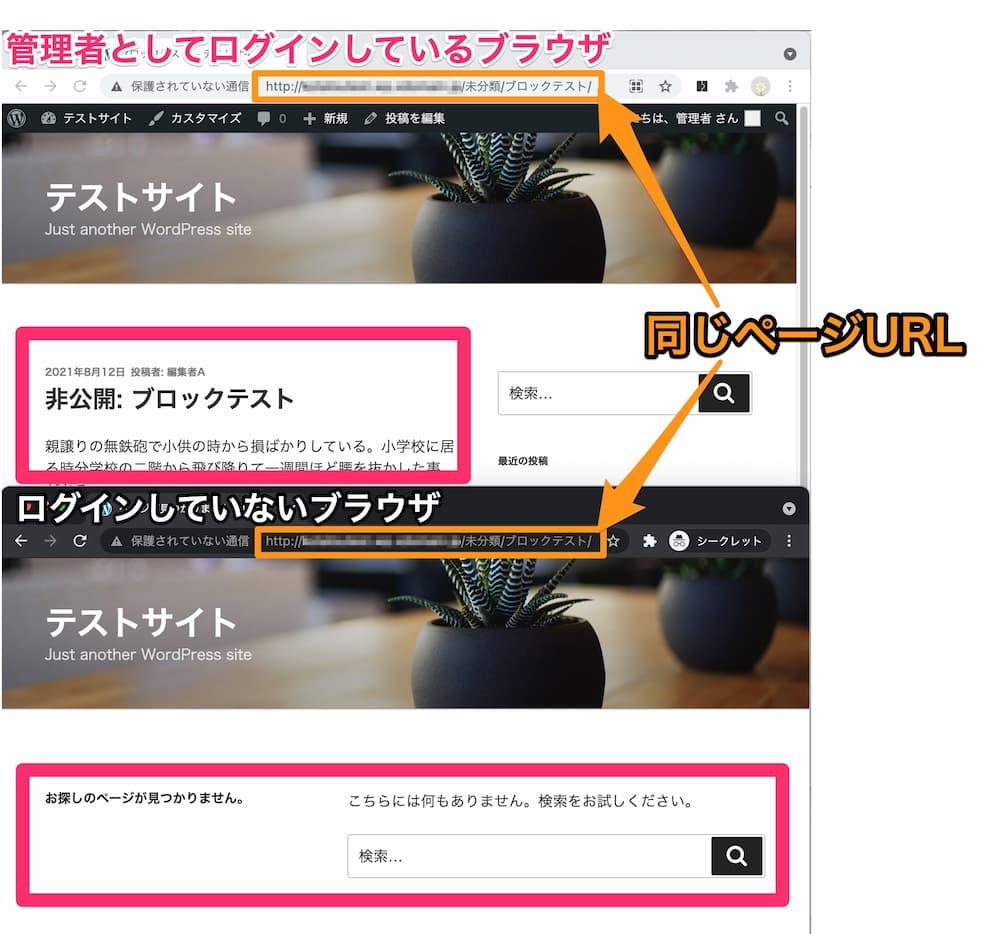 非公開ページのログインユーザーと一般ユーザーの表示比較