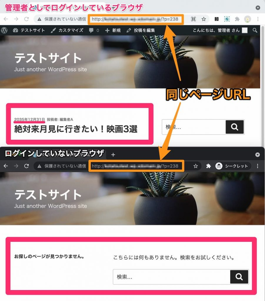 予約投稿ページのログインユーザーと一般ユーザーの表示比較